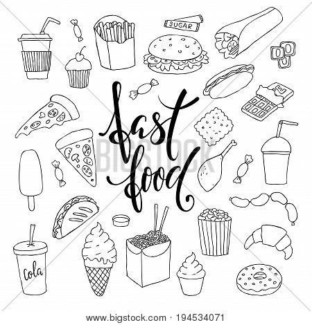 big set of hand drawn doodle fast food with lettering. Hand drawn calligraphy and brush pen lettering phrase fast food.