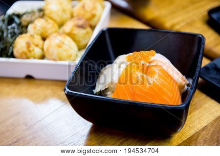 Closed Up Of Japanese Dish Salmon Rice Made From Fresh Salmon And Salmon Roe Served With Japanese Ri