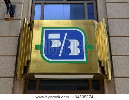 COLUMBUS OH - JUN 28: A sign for Fifth Third bank in Columbus OH is shown here on June 28 2017. There are 1300 branches of the bank.