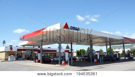DUNDEE MI - JUN 25: A CITGO station in Dundee MI is shown here on June 25 2017. There are over 6000 locally owned and operated stations in the United States.