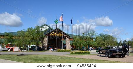 DUNDEE MI - JUN 25: The Cabela store in Dundee MI is shown here on June 25 2017. There are over 82 Cabela stores.