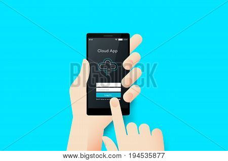 Hand Holding Smartphone With Conceptual Cloud Mobile Application Interface. Material Design Vector Illustration.