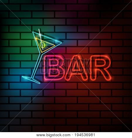 Neon icon Vector illustration Colorful neon lamps for bars pubs and cafes The inscription Bar and glass with martini on a brick wall Trendy postcard template text place copy space