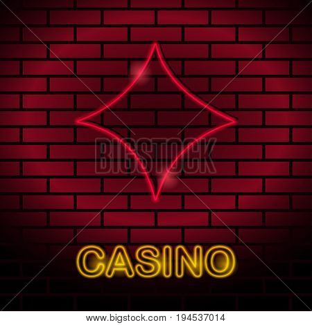 Neon card suit Vector illustration Neon lamp for casino in the form of diamonds card suit on a brick wall Lamp in form of diamonds card with red lighting