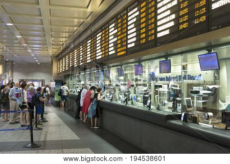 New York City USA - 2 July 2017: The ticket windows for the long island railroad in Penn Station are not as busy today as they will be in one week when the