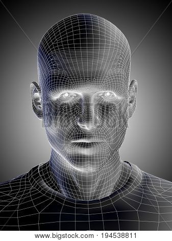 Concept or conceptual 3D illustration wireframe young human male or man face or head on black white background