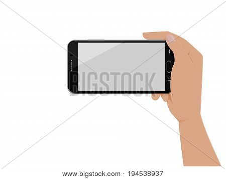 Isolated hand which is holding horizontal smartphone on transparent background