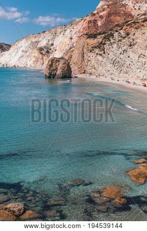 Sea beach in Milos island, Aegean sea, Greece.