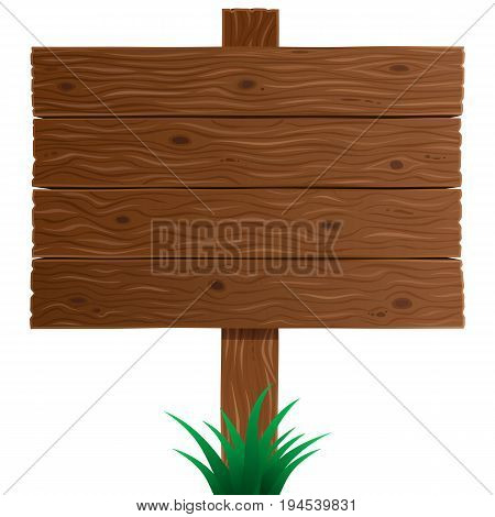 Brown wooden sign board close-up in vector isolated on white background. Wood texture plank board or background