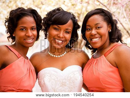 Portrait of an African American bride with her bridesmaids.