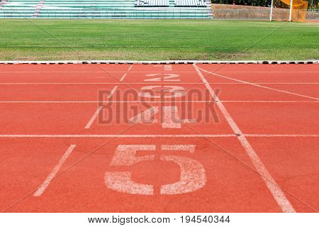 Running tracks with number in stadium .