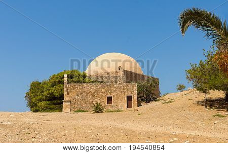 Greece Crete Rethymnon Fortezza ruins of the old fort historical building mosque journey through the famous places of the island