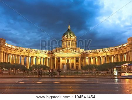 St. Petersburg RUSSIA MAY 23 2017: Night scene of Kazan (Kazanskiy) Cathedral in Saint-Petersburg. Russia. Located on Nevsky Prospekt in the center of the city.
