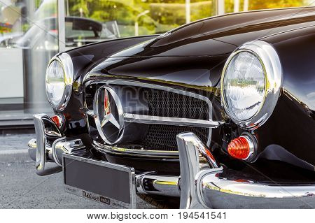 Novosibirsk Russia - June 16 2017: Mercedes-Benz 190 sl close-up. Photography of a classic car on a street in Novosibirsk