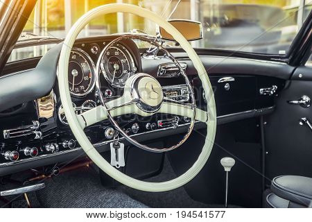 Novosibirsk Russia - June 16 2017: Mercedes-Benz 190 sl close-up of the salon. Photography of a classic car on a street in Novosibirsk...