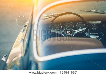 Novosibirsk Russia - June 16 2017: Porsche 356 close-up. Photography of a classic car on a street in Novosibirsk