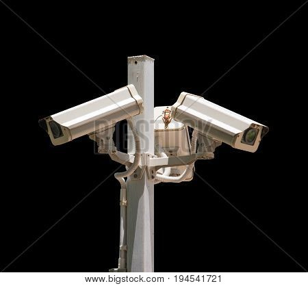 cctv camera security on pole and black background