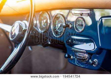 Novosibirsk Russia - June 16 2017: Porsche 356 dashboard. Photographing a classic car on a street in Novosibirsk