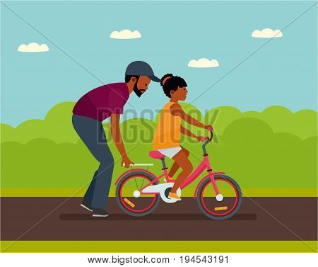 Family leisure. Summer time. African American people. Father walking with daughter in Park, father helping daughter to ride a bike. Vector illustration in a flat cartoon style