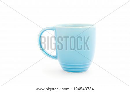 Blue melamine cup on white background, clipping path