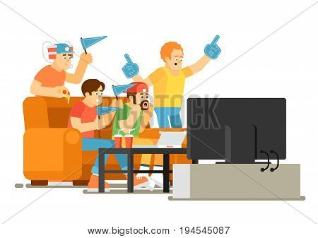 Emotional sports fans watching game on TV at home. Group of men sitting on sofa, eating pizza and watching sport together. Friendship, sports and entertainment vector illustration in flat style.