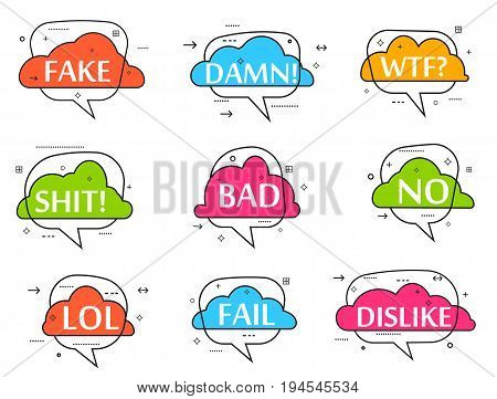 Trendy speech bubble colorful set. on. No, lol, fake, damn, wtf, shit, bad, dislike, fail label isolated vector illustration. Most commonly used acronyms, abbreviation, and replica collection.