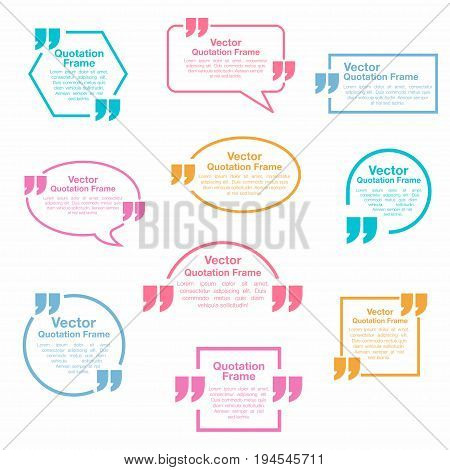 Quotation. Quotation Speech Bubbles Set. Testimonial Sign