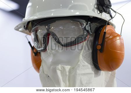 mannequins with Safety helmets safety glass and ear muff ; Working Hard Hat;Personal Protection Equipment PPE
