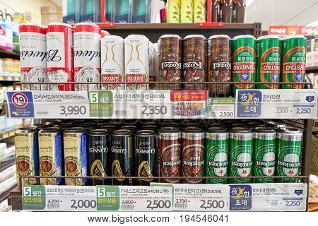 SEOUL, SOUTH KOREA - CIRCA MAY, 2017: beer on display at a supermarket in Seoul.