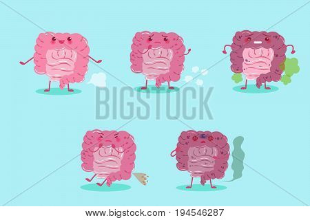 cute cartoon intestine with health concept on blue background