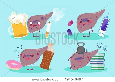 cartoon liver health concept on the blue background