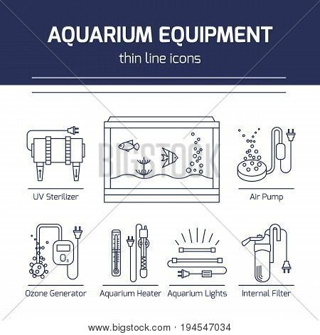 Thin line vector icons - aquarium equipment. Outline isolated signs of devices for fish tank.