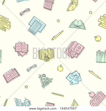 Thin lined book seamless pattern. Vector endless background with chalked outlined signs of different opened and closed books in front and top view.
