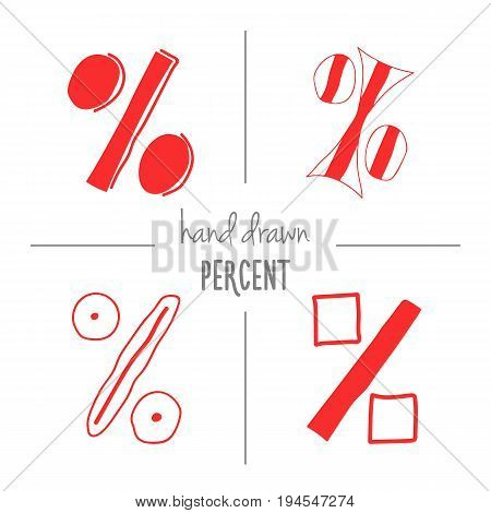 Set of red hand drawn doodle percent signs. Vector sketch of isolated cartoon per cent mark icons for sale or discount banners.