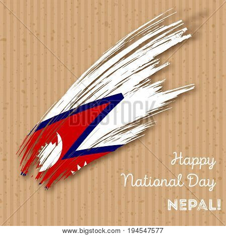 Nepal Independence Day Patriotic Design. Expressive Brush Stroke In National Flag Colors On Kraft Pa