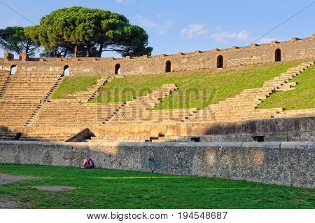 Grandstand of the ancient amphitheater of Pompeii - Campania, Italy, 31 October 2011