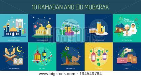 Ramadan and Eid Mubarak Conceptual Design | Set of great flat design illustration concepts for religion, ramadan, islamic and much more.
