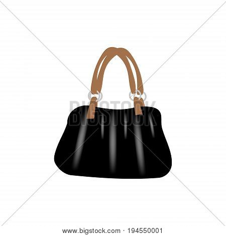 Fashion vector photo realism illustration with black glossy leather bag with brown handles. Isolated on white background