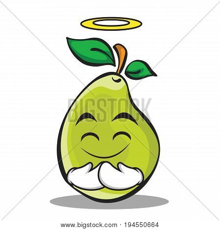 Innocent face pear character cartoon vector illustration