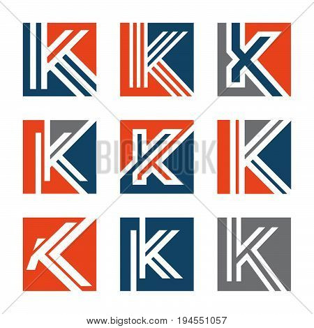 Abstract letter K vector logo concept. Style K vector logo. Colorful letter K logo vector template. Letter K logo for technology