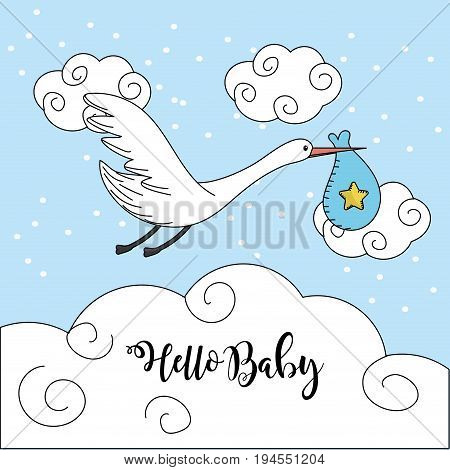 nice stork with bag to baby shower card vector illustration