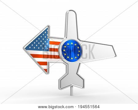 Emblem design for airlines, airplane tickets, travel agencies. Airplane icon and destination arrow. Flags of the European Union and USA. 3D rendering
