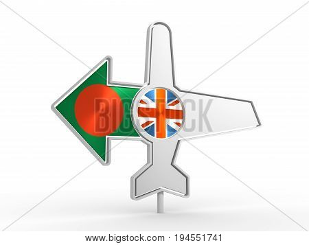 Emblem design for airlines, airplane tickets, travel agencies. Airplane icon and destination arrow. Flags of the Great Britain and Bangladesh. 3D rendering