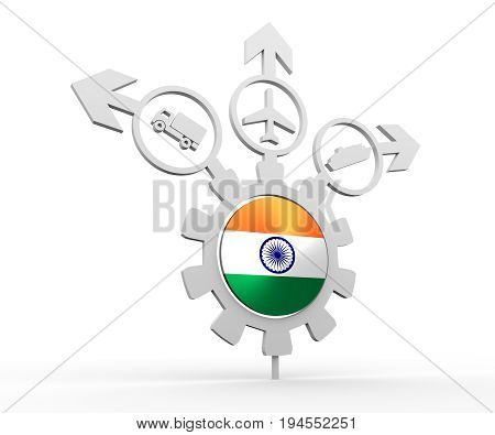 Delivery emblem design. Truck, airplane and ferry boat icons on destination arrows. Flag of the India in the center of gear. 3D rendering