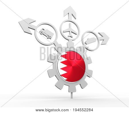 Delivery emblem design. Truck, airplane and ferry boat icons on destination arrows. Flag of the Bahrain in the center of gear. 3D rendering