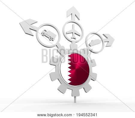 Delivery emblem design. Truck, airplane and ferry boat icons on destination arrows. Flag of the Qatar in the center of gear. 3D rendering