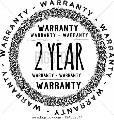 2 year warranty vintage grunge rubber stamp guarantee background