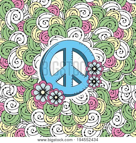 hippie emblem symbol with ornamental design vector illustration