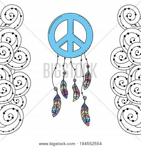hippie emblem symbol with feathers and ornamental design vector illustration