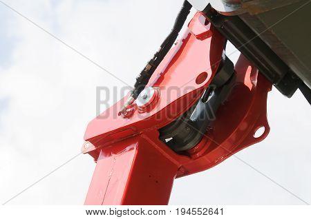 Crane gibbet part close up over sky background
